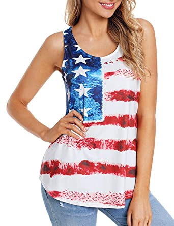 d6c8289c7ba Women s Plus Size Vintage Round Neck July 4th Patriotic Tank Tops  Sleeveless US Flag Print High Low Summer T Shirt at Amazon Women s Clothing  store