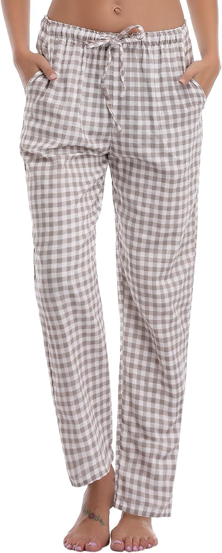 Aibrou Pigiama Pantaloni da Donna Brown Taglia M