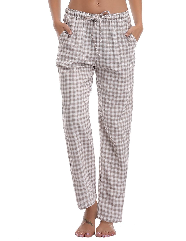 Aibrou Ladies Plaid Sleepwear, 100% Cotton Sleepwear Bottoms Checked Pyjama Bottoms Flannel Lounge Pajamas Pants