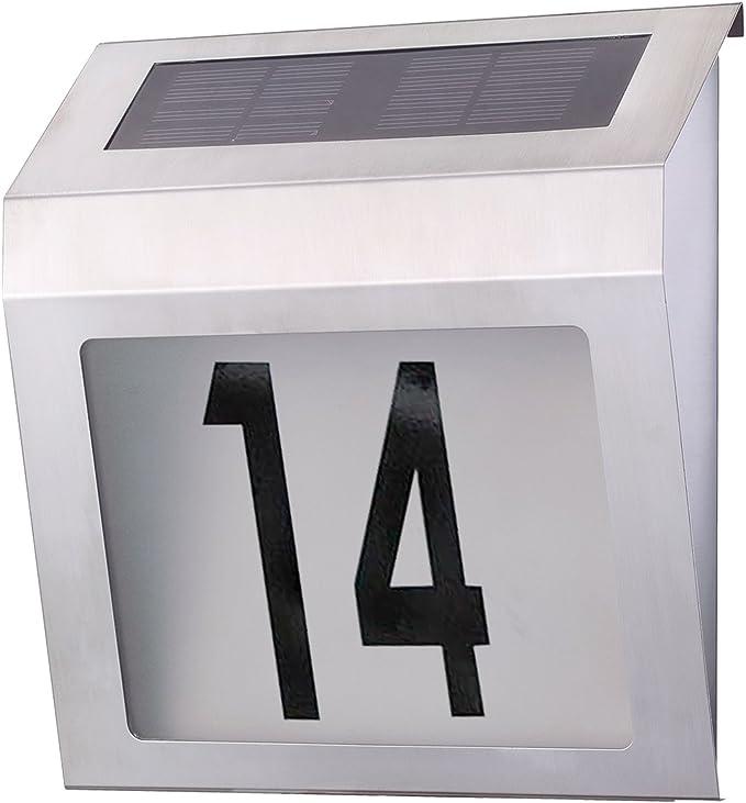 Solar Hausnummer mit LED Beleuchtung Edelstahl 60221HH