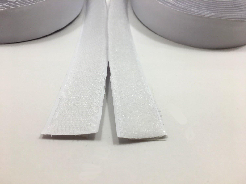 20mm de ancho blanco FrogJim Cinta de Gancho y vell/ón autoadhesiva con cinta adhesiva especial cada rollo de vell/ón de 5m y rollo de gancho de 5m KROW5 autoadhesivo, blanco