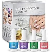 IWISH Dipping Powder Glue kit, Nail Dipping Powders Essentials 4 Steps Liquid Set, Dip Powder Base, Top Coat, Activator…