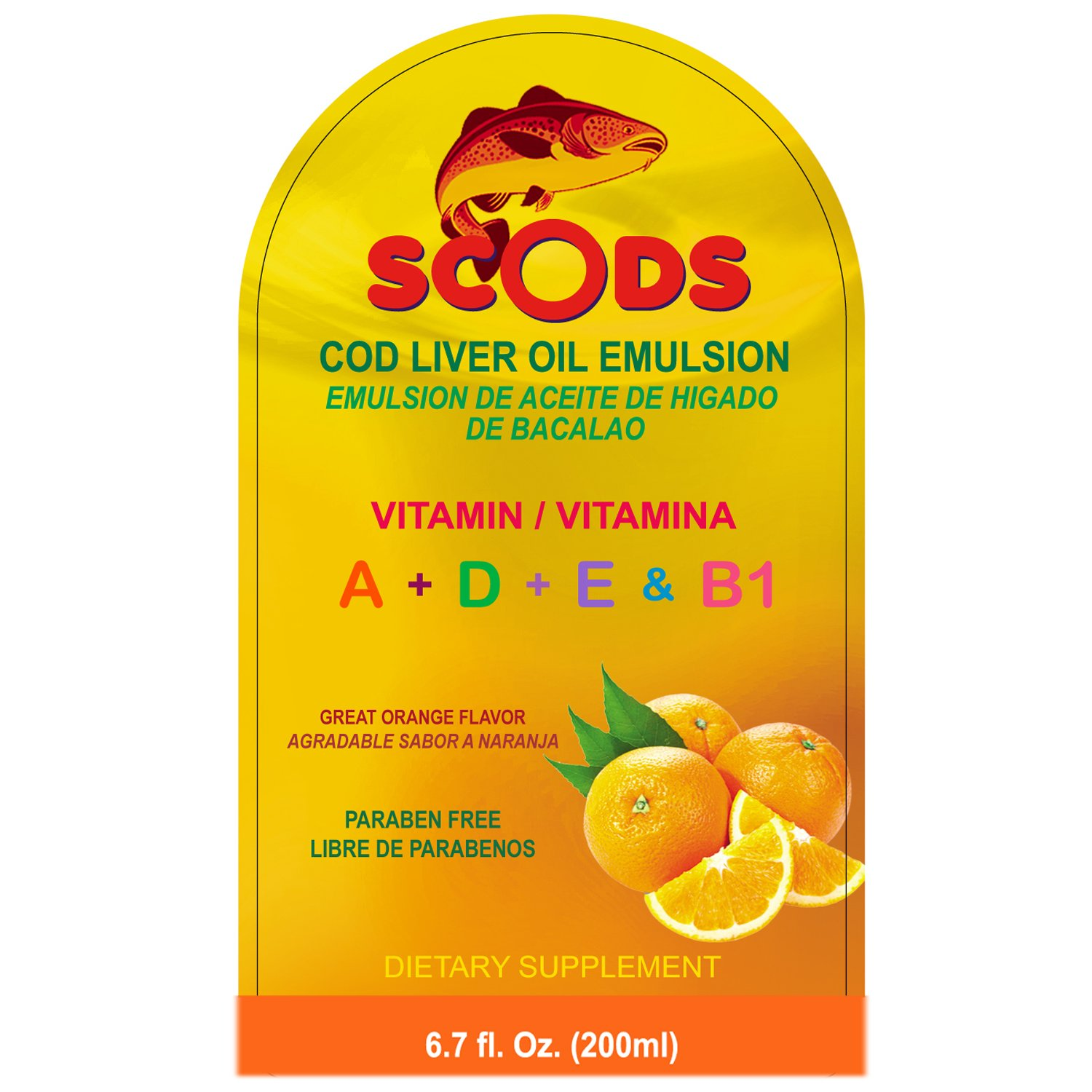 Amazon.com: Emulsion de Scods Naranja Cod Liver Oil Emulsion Orange 200ml Vitamin A + D + E & B1: Health & Personal Care
