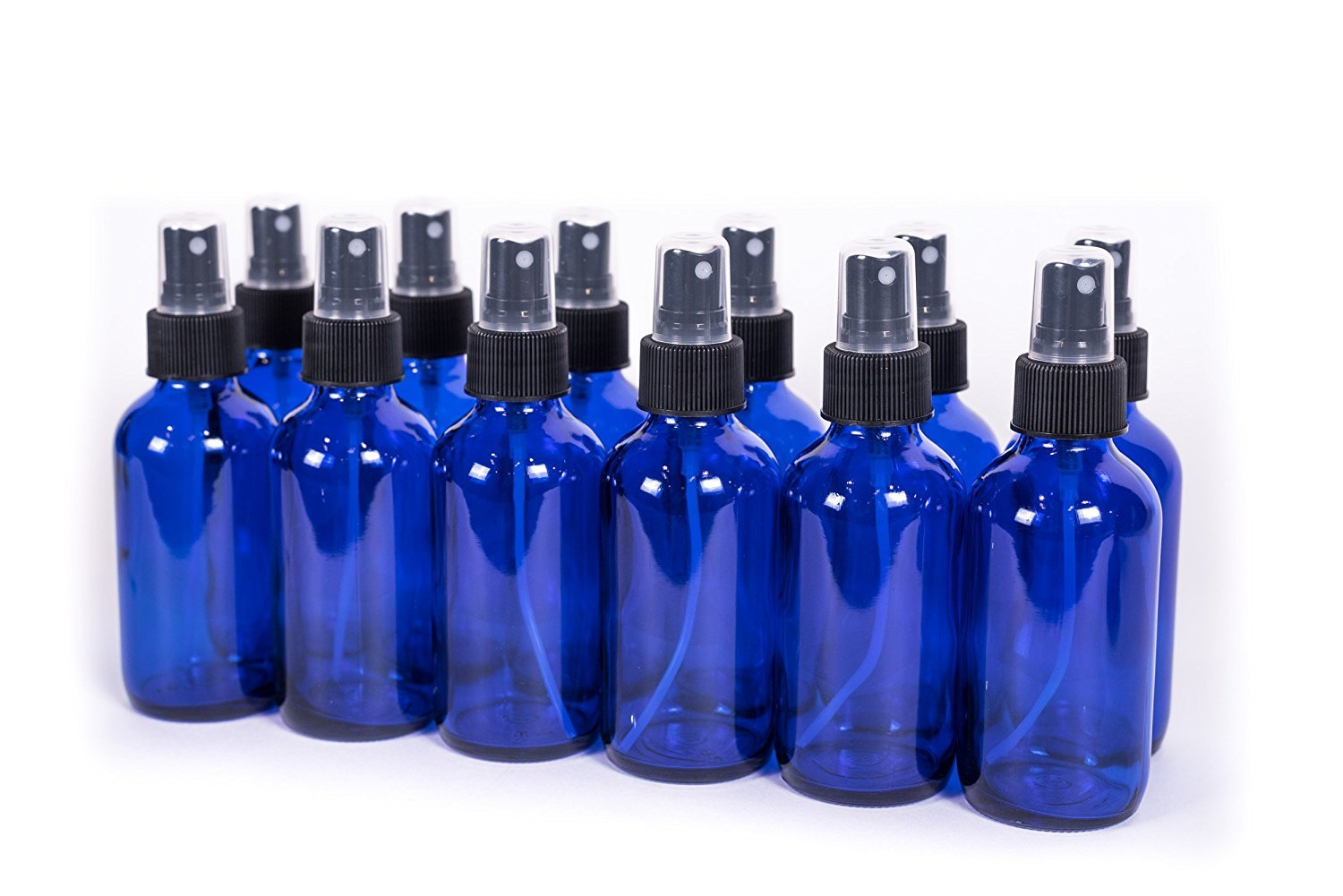 Everything4Oils Blue 4oz Glass Bottle with Pump for Essential Oils 12-pack