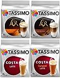 Tassimo 4 Latte Variety Bundle Costa Latte Original + Caramel, L'Or Latte Macchiato + Caramel