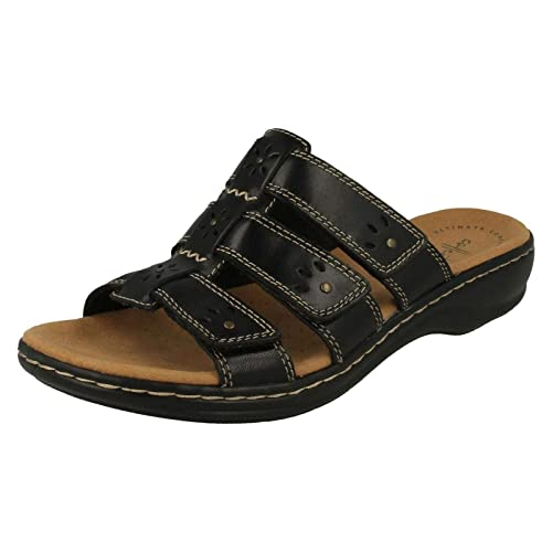 b108577b3dec Clarks Ladies Slip On Mule Sandals Leisa Spring - Black Leather - UK Size  3E -