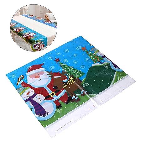 bestomz Navidad Mantel Rectangular desechables PVC Mantel Mantel ...