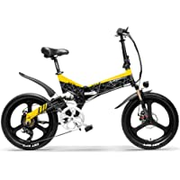 LANKELEISI G650 Bicicleta eléctrica Plegable de 20 Pulgadas 400W 48V 10.4Ah / 12.8Ah Batería de ión de Litio 5 Nivel Pedal Assist Suspensión Completa
