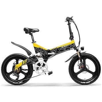LANKELEISI G650 Bicicleta eléctrica Plegable de 20 Pulgadas 400W 48V 10.4Ah/12.8Ah/14.5Ah Batería de ión de Litio 5 Nivel Pedal Assist Suspensión ...