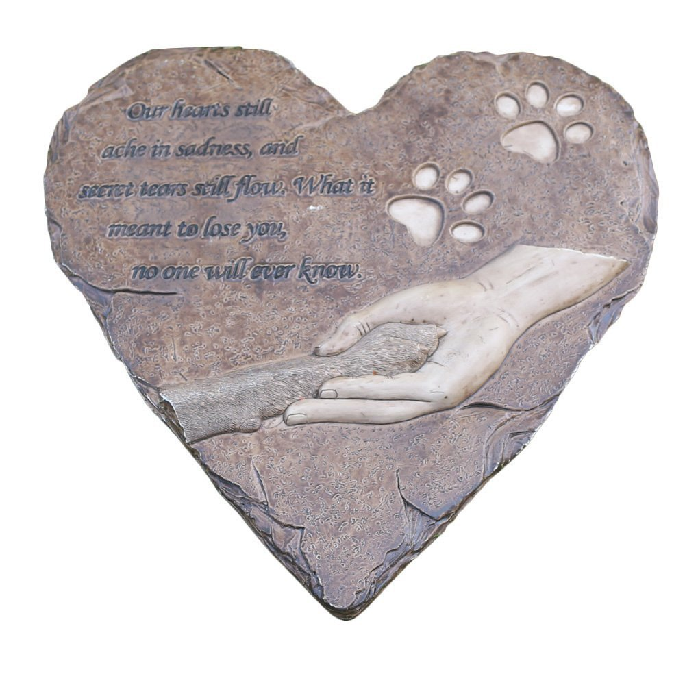 Brown JHP Dog Memorial Stones, Hand-Printed Heart Shaped pet Memorial Gifts Embellished with Sympathy Poem & paw in Hand Design, Meaningful Loss of Pet Gift for Outdoor (Brown)
