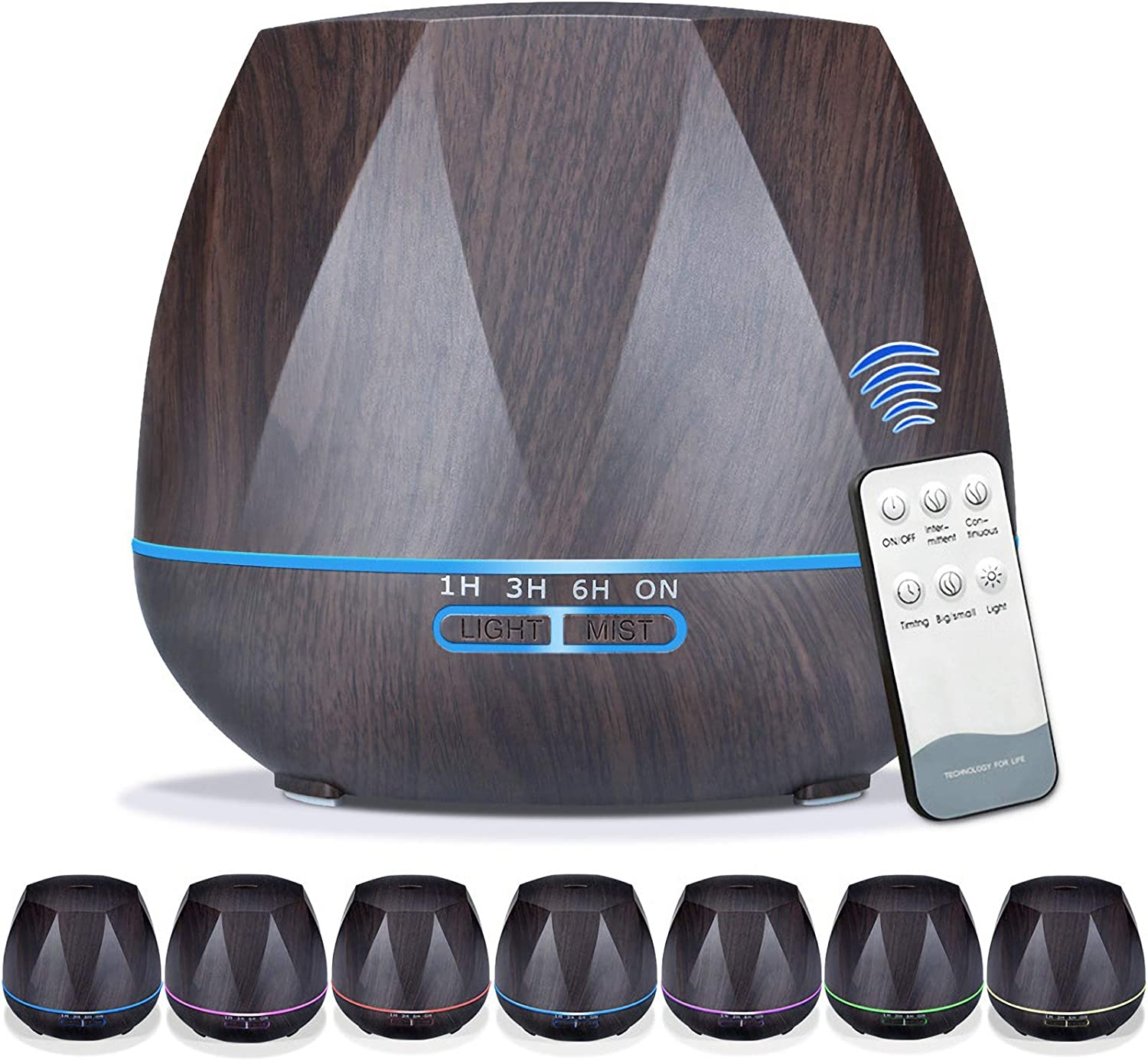 Ayrio Essential Oil Diffusers, 550ml Ultrasonic Cool Mist Aromatherapy Diffuser Air Humidifier with Remote Control Timer and 7 Colourful LED Lights