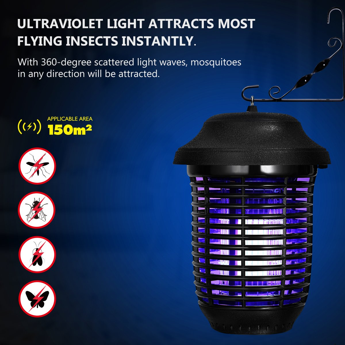 YUNLIGHTS Electric Bug Zapper, 40W Outdoor Mosquito Killer Lantern with Free Hanger, IPX4 Insect Fly Zapper Light for Patio, Gardens, Yards, Pool Area by YUNLIGHTS (Image #4)