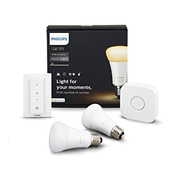 Philips Hue 460989 Smart 2 Bridge, and 1 Dimmer Switch, Compatible with  Amazon, Apple HomeKit, and Google Assistant Hue White Ambiance A19 Bulb