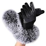 Lowpricenice Women Leather Gloves Rabbit Fur Mittens