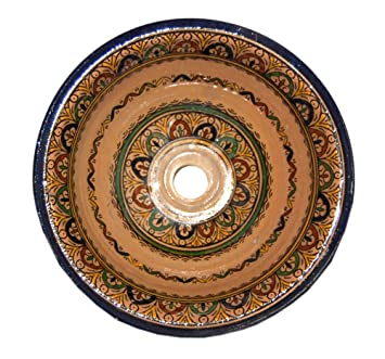 Exotic Moroccan Sinks: Accent Bathroom Clay Sink   Hand Painted In Morocco  13 Inch W