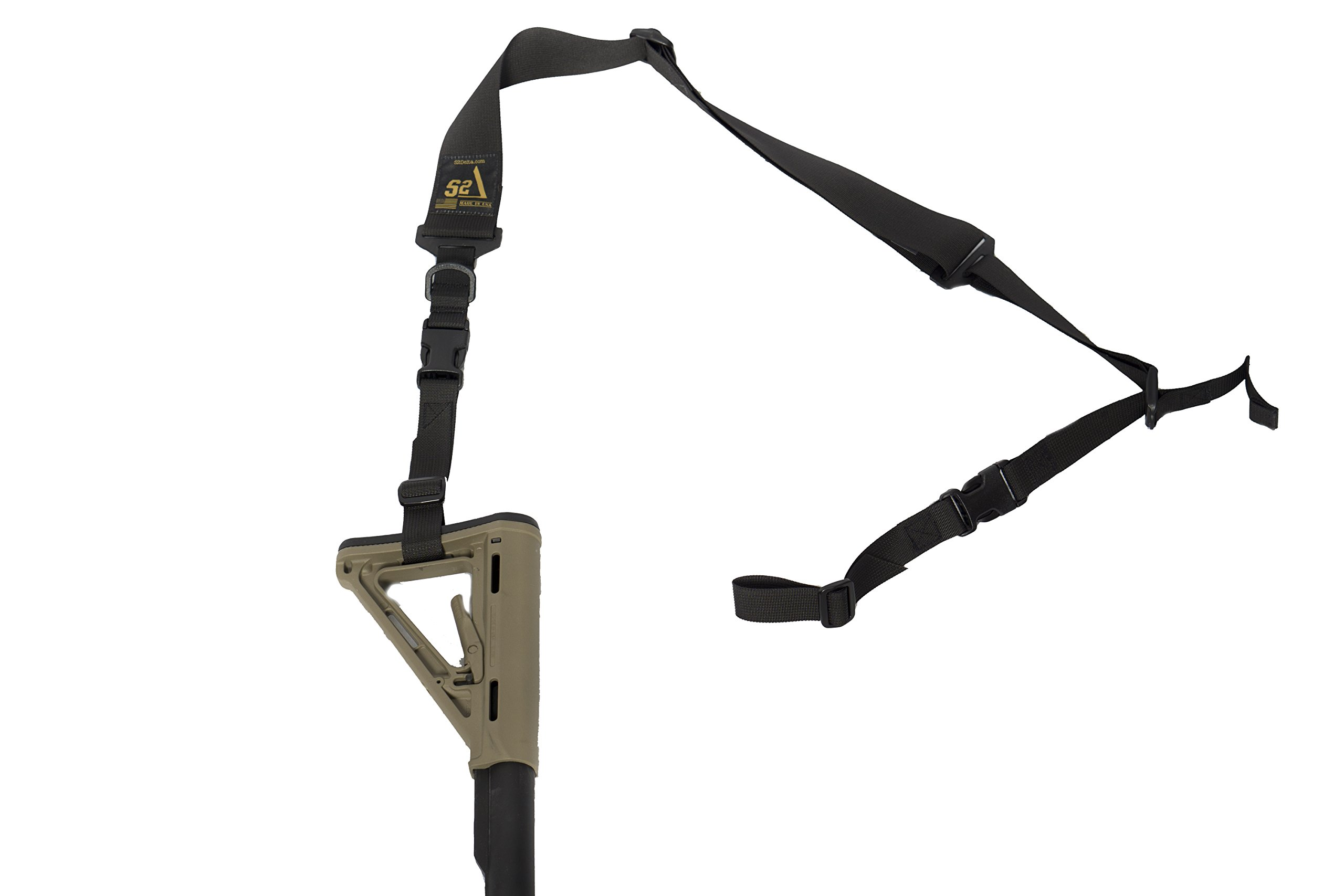 S2Delta - USA Made 2 Point Rifle Sling, Quick Adjustment, Modular Attachment Connections, Comfortable 2'' Wide Shoulder Strap to 1'' Attachment Ends (Black Sling, Pigtail Connector) by S2Delta