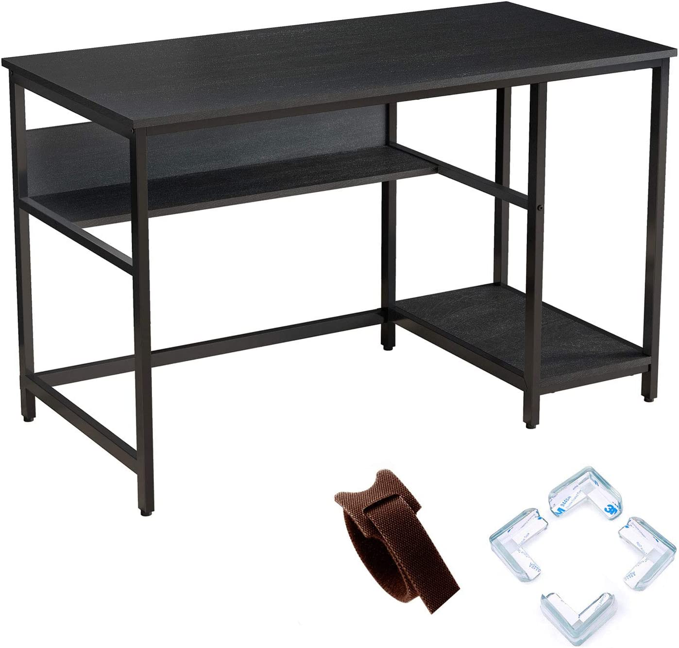 "Rolanstar Black Computer Desk, 55"" Office Desk with 2 Storage Shelves with Corner Protectors, Study Table, Workstation,Business Style, Stable Metal Frame, CP001-B"