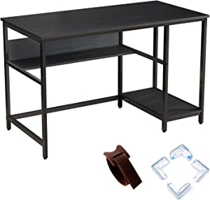 "Rolanstar Black Computer Desk, 47"" Office Desk with 2 Storage Shelves with Corner Protectors, Study Table, Workstation,Business Style, Stable Metal Frame, CP001-A"