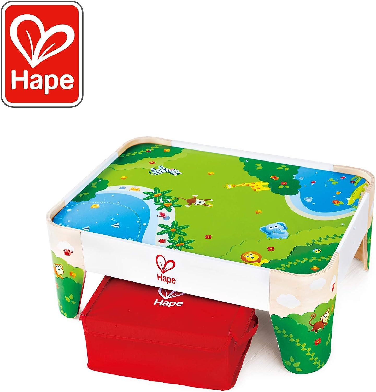 Hape International- Railway Play Table Mesa de Juego Selva, Multicolor, Talla única (E3823)