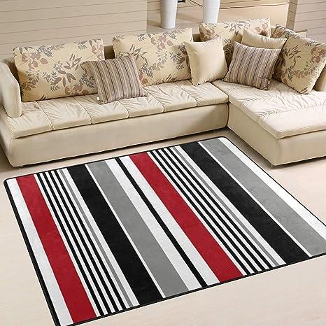 Area Rugs Black Stripe Red White Grey Vertical Indoor Outdoor Floor Mat Livingroom Bedroom Sofa Carpet Non Slip Home Hotel Large Custom Area Rug Mat 6 67 X4 83 Kitchen Dining