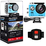 AKASO EK7000 4K WIFI Sports Action Camera Ultra HD Waterproof DV Camcorder 12MP 170 Degree Wide Angle 2 inch LCD Screen/2.4G Remote Control/2 Rechargeable Batteries/19 Mounting Kits-Blue