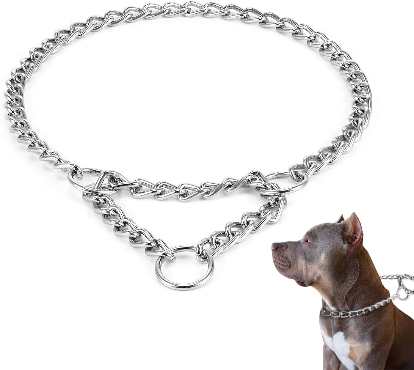 HAPPY HACHI Collar Cadena Martingale Perro Collares Perros Mediano Grande Semi Choke Cromado Acero Consistent para Adiestramiento