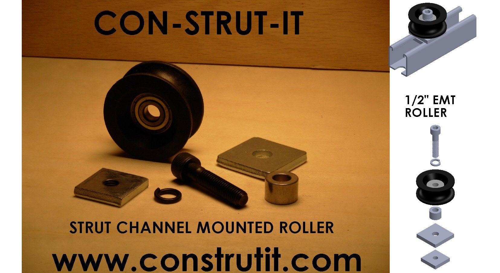 1/2'' EMT PIPE ROLLER STRUT CHANNEL MOUNT