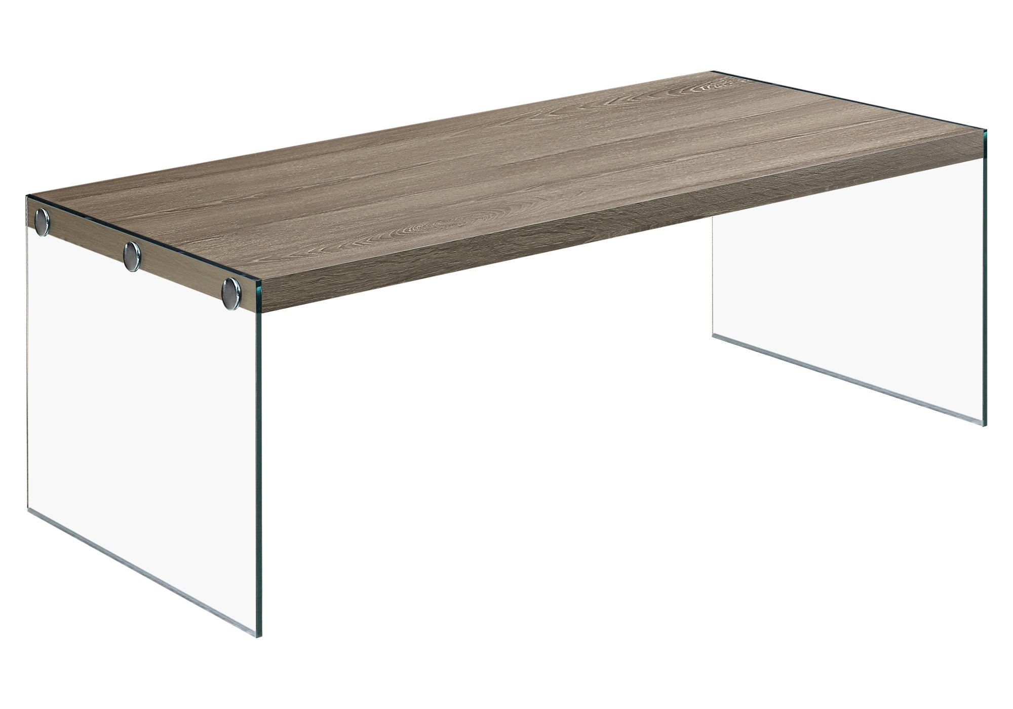 Monarch specialties , Coffee Table, Tempered Glass, Dark Taupe, 44''L by Monarch Specialties