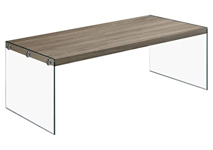Monarch Specialties I 3054, Coffee Table, Tempered Glass, Dark Taupe,  44u0026quot;