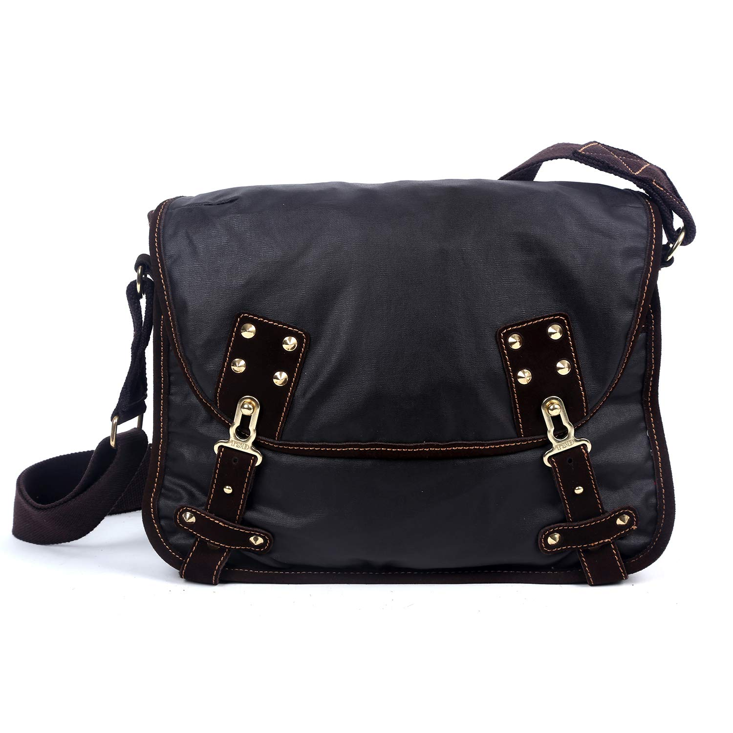The Same Direction Dolphin Studded Messenger Bag Dark Brown