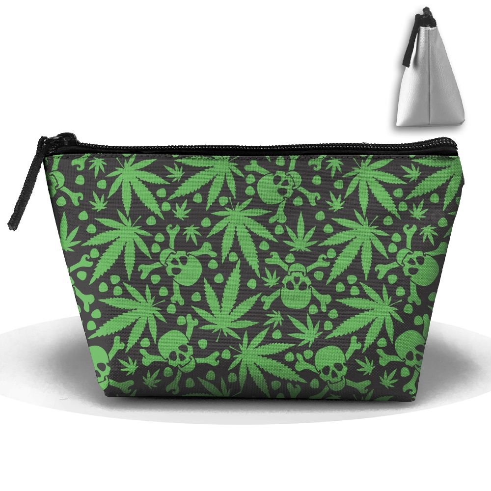 8d3c6ea810 low-cost LogicBB Marijuana Leaf Skull Print Makeup Bag Travel Cosmetic  Pouch Storage Brush Holder