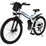 ANCHEER Folding Electric Mountain Bike with 26 Inch Wheel, Large Capacity Lithium-Ion Battery (36V 250W), Premium Full Suspension and Shimano Gear