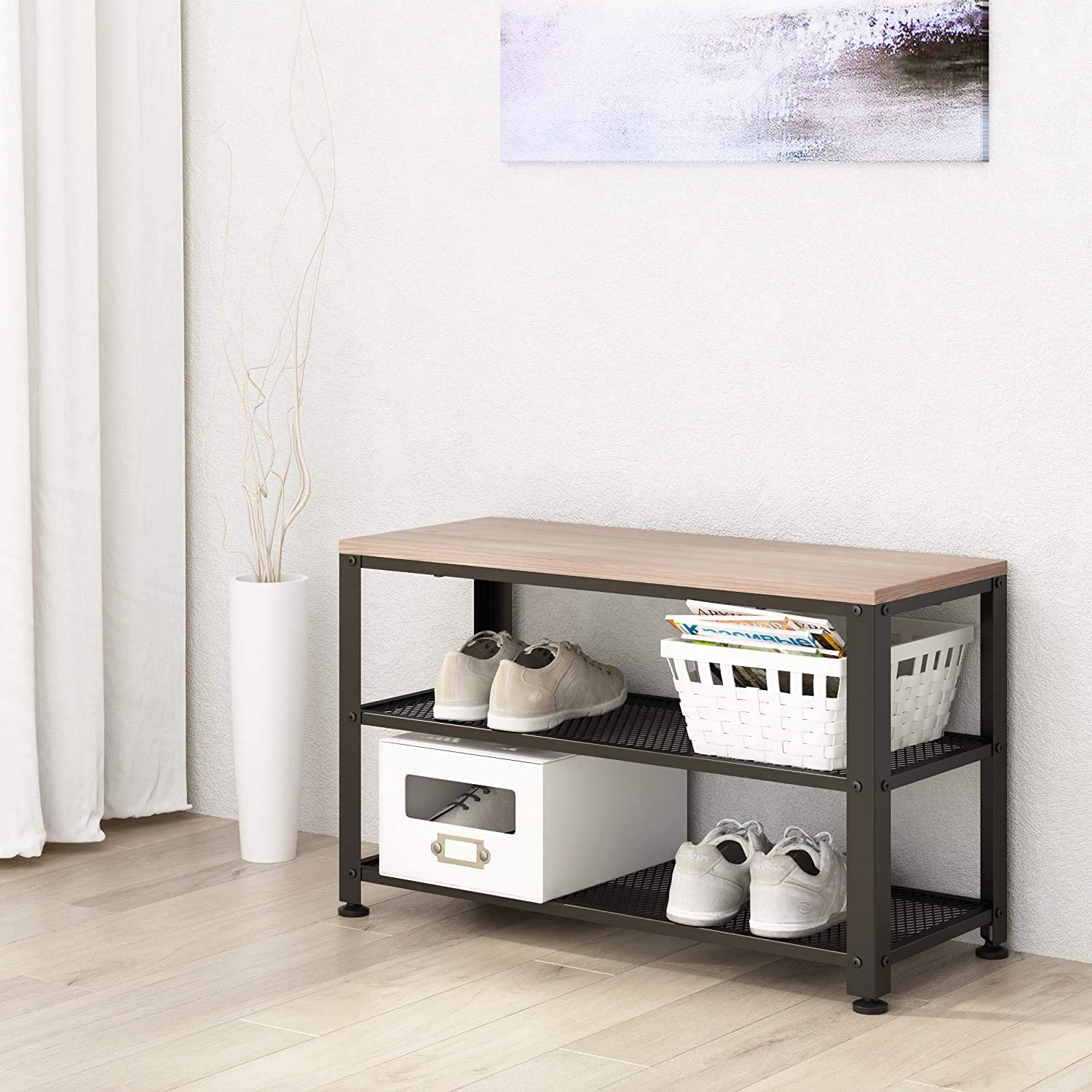 Holds up to 220 lbs 3-Tier Shoe Rack Bench with Mesh Shelves SIMPDIY Shoe Bench Sturdy Entryway Bench with shoe storage 73 x 30x 45cm