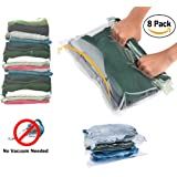 Travel Space Saver Bags for Clothes No Vacuum Needed Roll up Compression Bags by WayfarePac