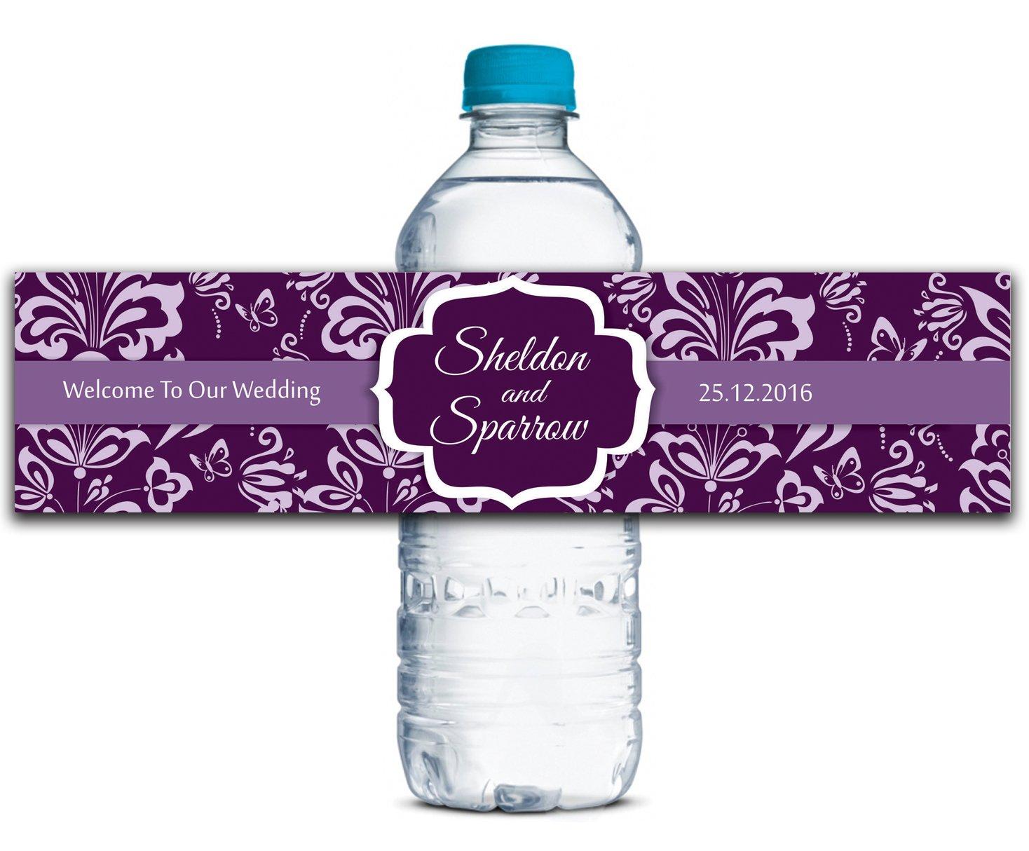 Kundenspezifische Wasserflasche Etiketten Selbstklebende wasserdichte Peraonalized Hochzeits-Aufkleber 8  x 2  Zoll - 50 Etiketten B01A0W4FVM   Deutschland