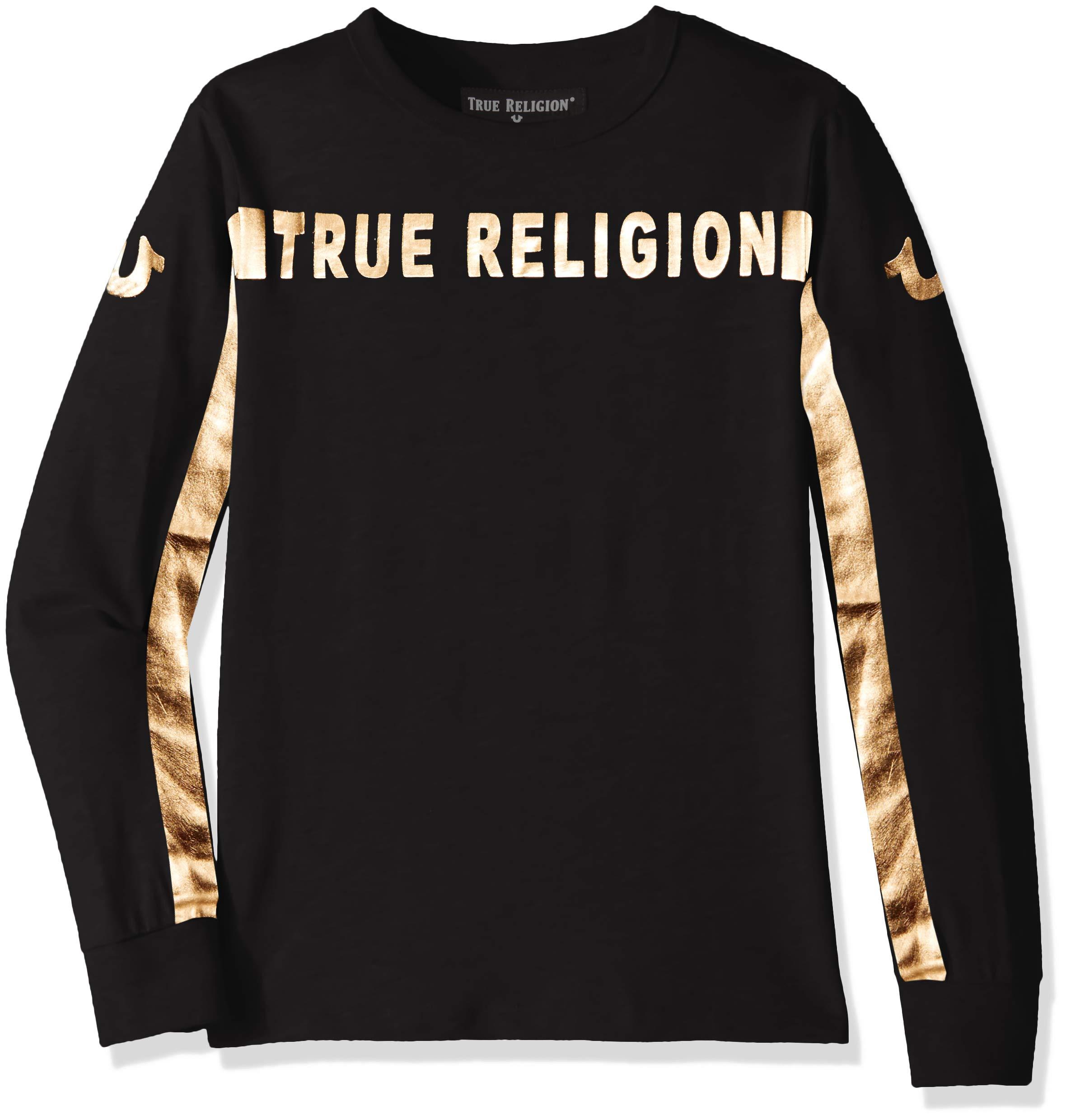 True Religion Boys' Big Long Sleeve Tee Shirt, ls Black, L