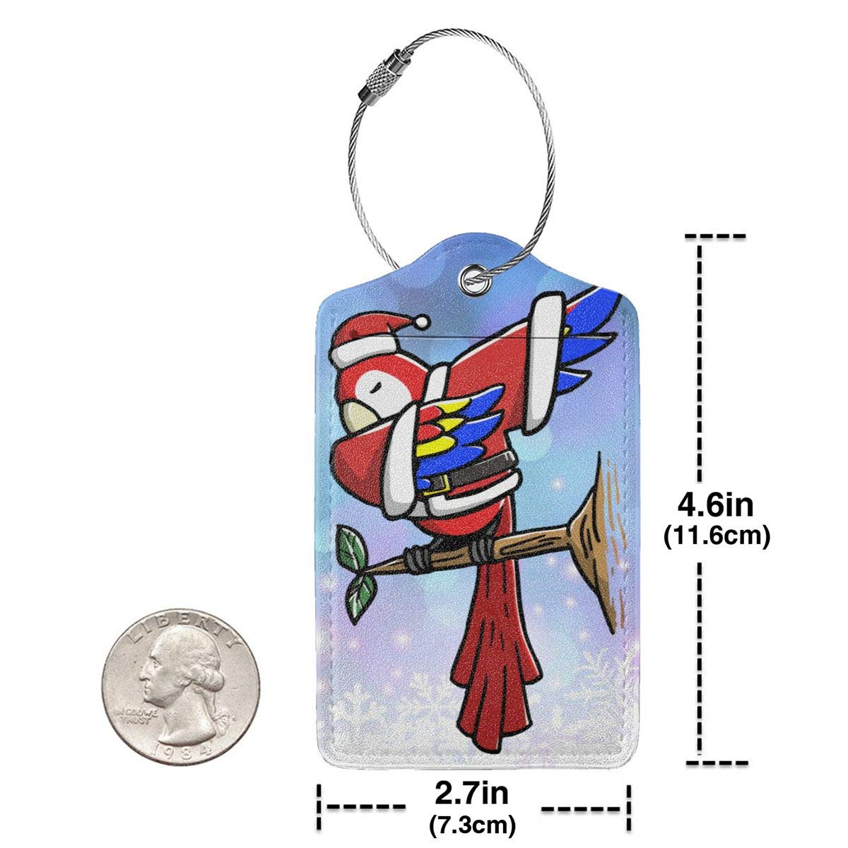 Dabbing Parrot Ugly Christmas Travel Luggage Tags With Full Privacy Cover Leather Case And Stainless Steel Loop