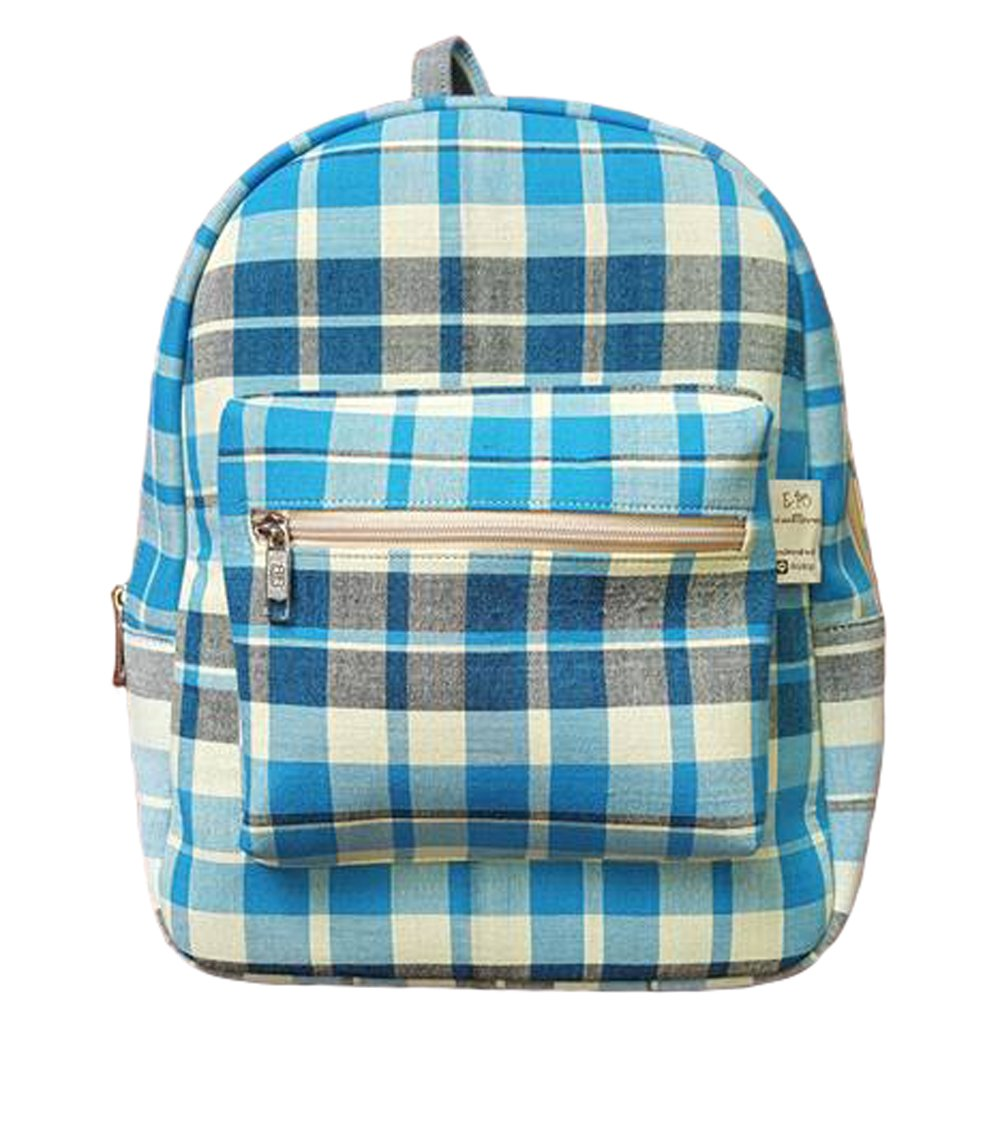 Trendy Multi-colored Handwoven Cotton Check Plaid Backpack (Blue-Grey)