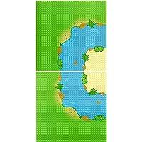 """EKIND 2-Pack 10"""" x 10"""" Rainforest Base Brick Plate Compatible for All Major Brands, Bases for River, Forest Garden…"""