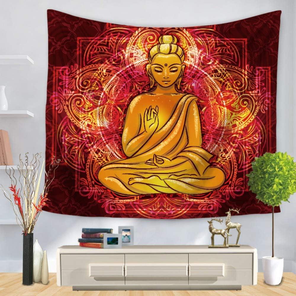 GTZXHNM Tapisserie Murales,Statue De Bouddha en Or Mandala Color/é Le Style Indien Hippie Psych/éd/élique Mandala Grande Taille Imprim/é De Tissu Tapisserie pour Jeter La Plage Wall Art Decor,150/×130Cm