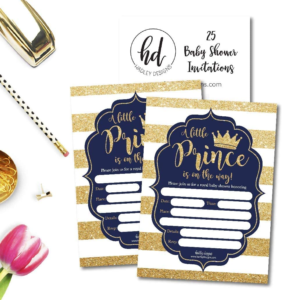 Modern Gender Theme Vintage Unique Coed Party Stock Paper Supplies 25 Little Prince Baby Shower Invitations Navy /& Gold Sprinkle Invite for Boy Cute Printed Fill or Write in Blank Printable Card