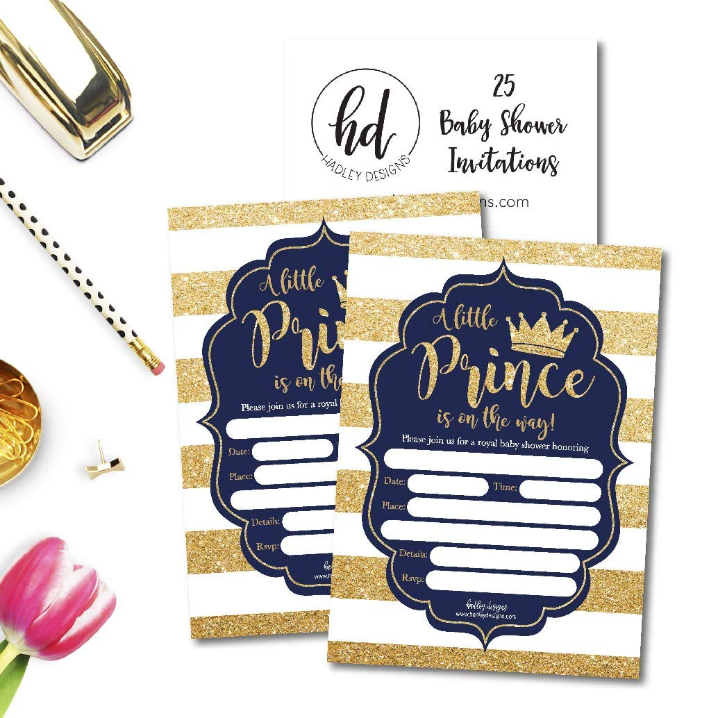 25 Little Prince Baby Shower Invitations, Navy & Gold Sprinkle Invite for Boy, Modern Gender Theme, Cute Printed Fill or Write in Blank Printable Card, Vintage Unique Coed Party Stock Paper Supplies by Hadley Designs (Image #3)