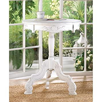 White Wood Distressed Chic Round Shabby Baroque Pedestal End Table  Nightstand