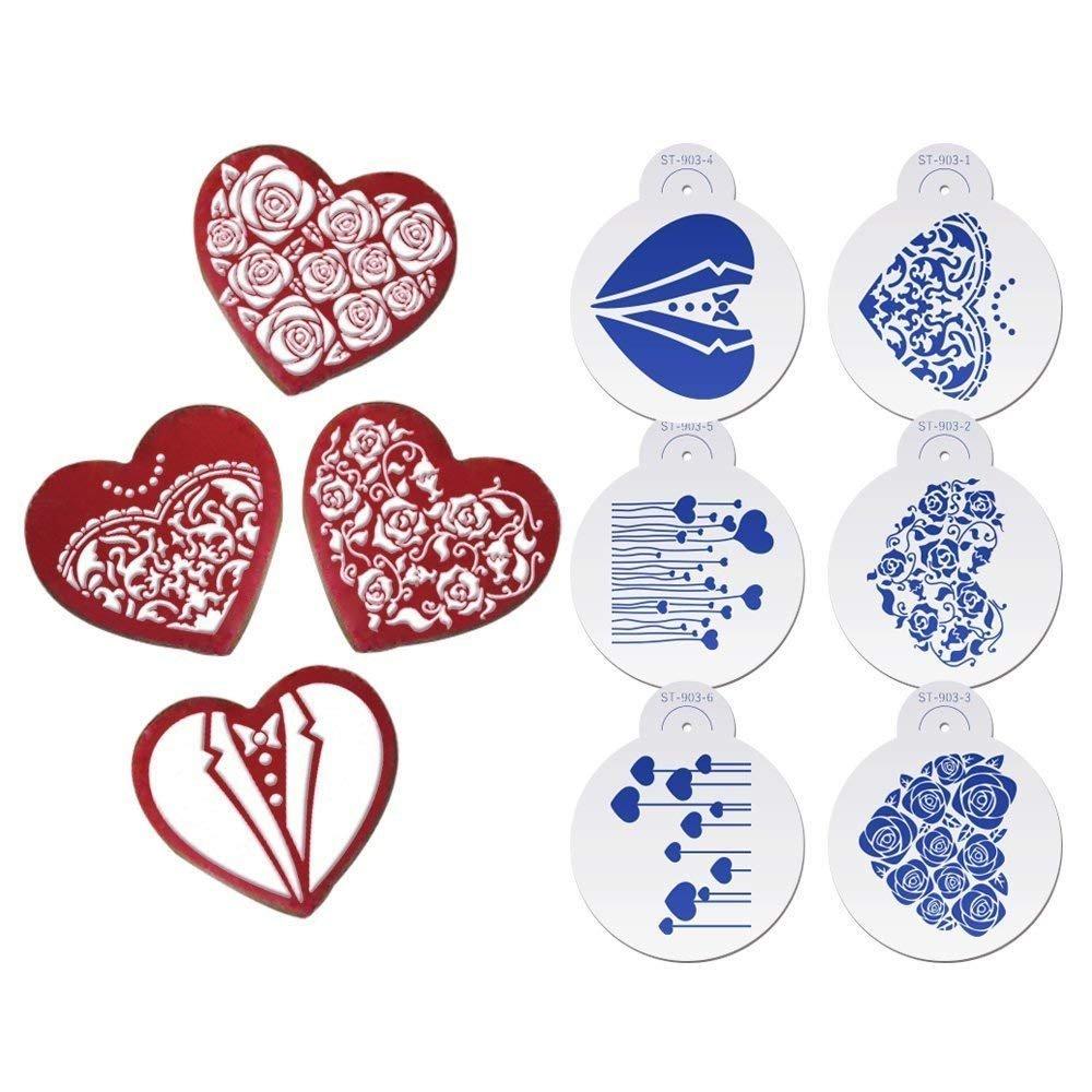 ART Kitchenware 6pcs/set Wedding Cookie Stencil Set (Suits,Dress,Heart,Roses) Fondant Cake Stenciling Sugarcraft Decor Stencil ST-903 Beige/Semi-Transparent AK ART KITCHENWARE