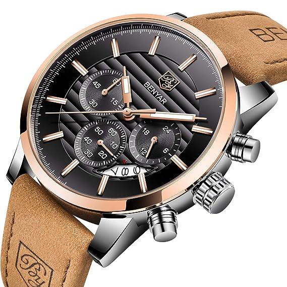 Reloj para los hombres, BENYAR impermeable de lujo del negocio de acero inoxidable reloj deportivo cronógrafo de cuarzo de los hombres de cuero ocasionales: ...