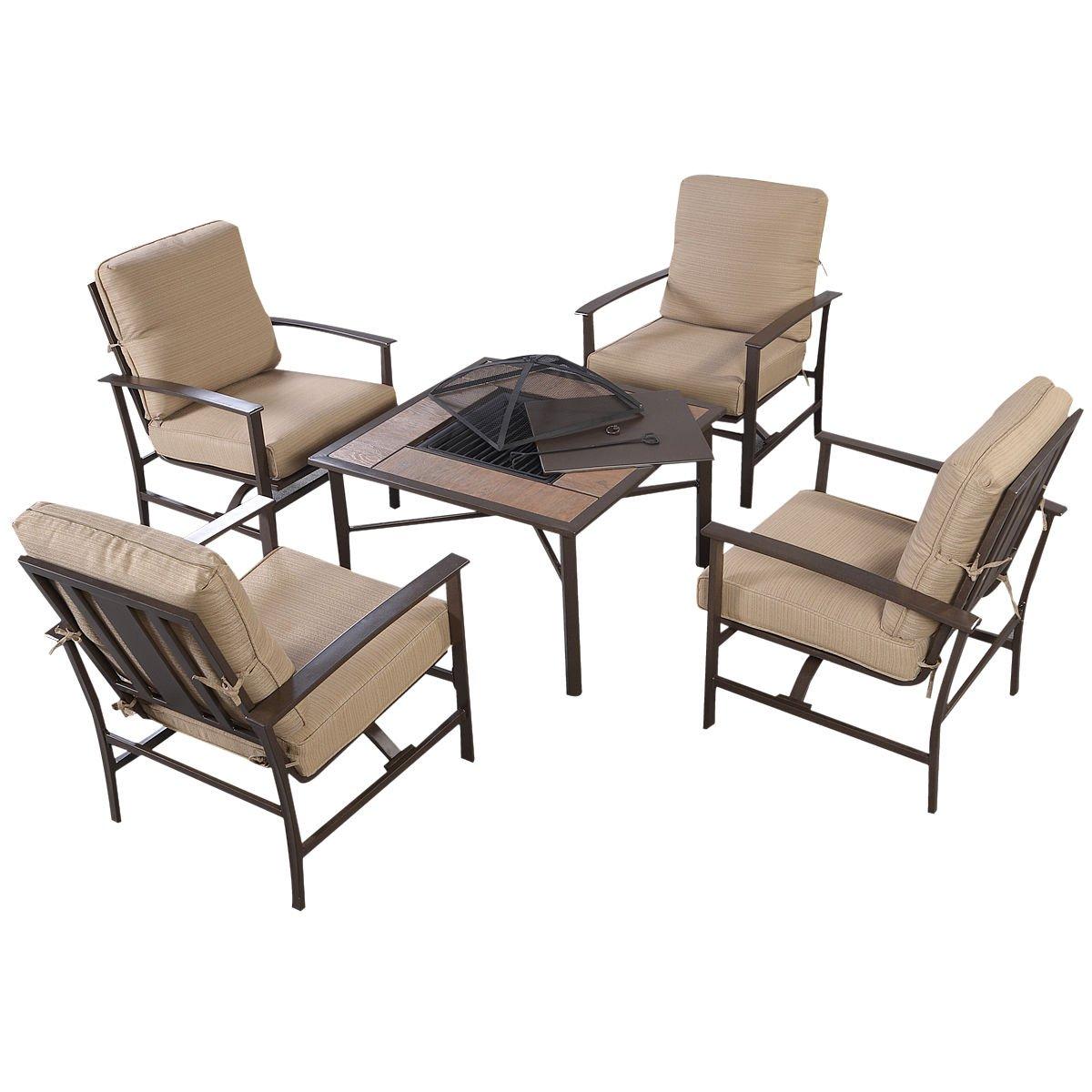 Amazon.com: GHP Outdoor Patio 5 Piece Chair U0026 BBQ Stove Fire Pit Table  Furniture Set W Umbrella: Garden U0026 Outdoor