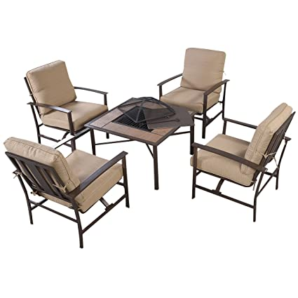 Patio Furniture With Fireplace.Giantex 5 Pcs Patio Furniture Set Chair Bbq Stove Fire Pit Fireplace Steel Frame