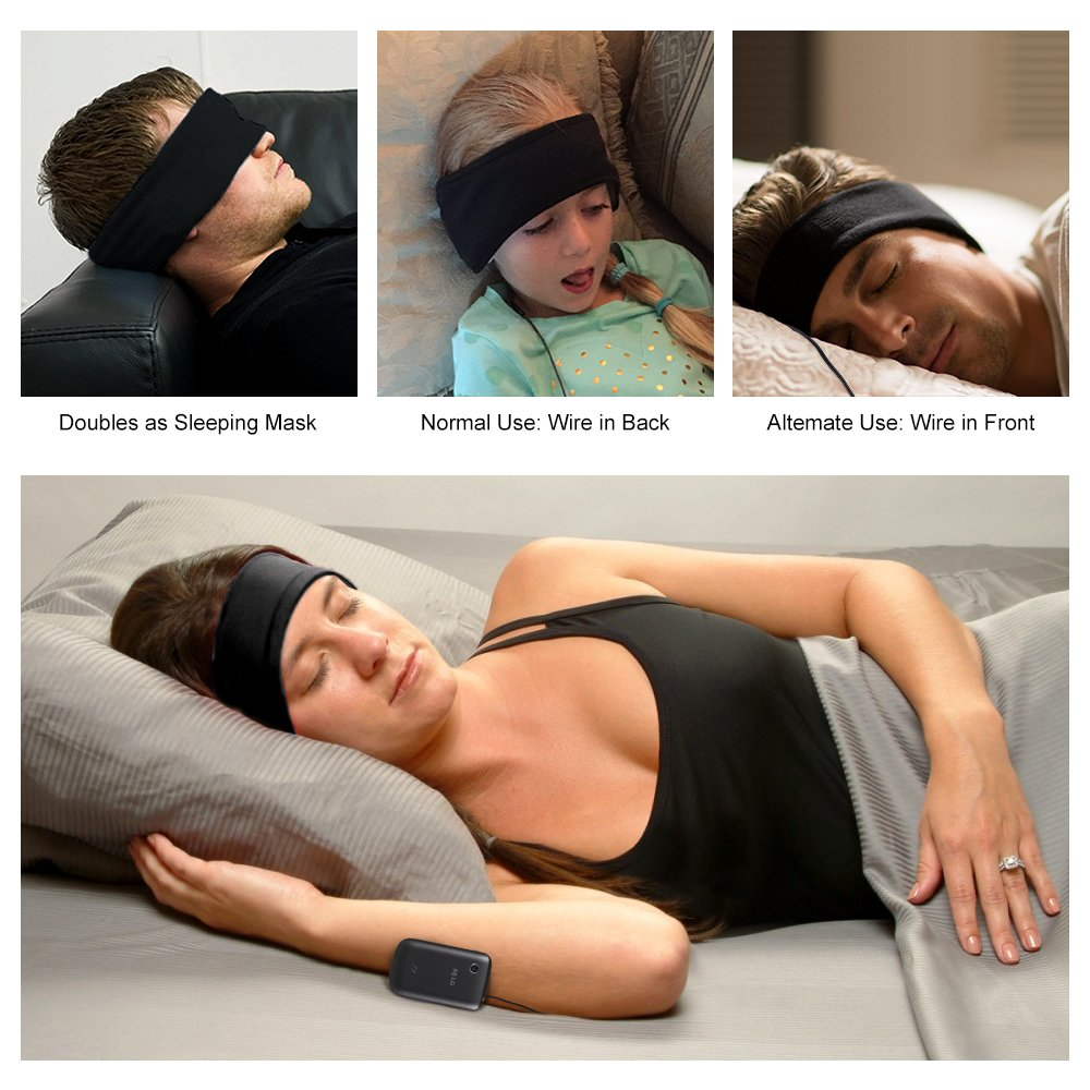 Sleep Mask Headphones Headset Sleep Headphones Muffler Noise Reduction Anti-Snoring Sleeping Headphones Multipurpose for Eye Masks and Headbands by CLAN-X (Black) (BLACK)