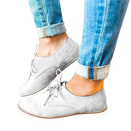 Zapatos de Cordones Derby Mujer Vintage Zapatillas Vestir Oxford Trabajo Brogue Calzado 3cm Primavera Negro Rosado Caqui 35-43 EU: Amazon.es: Zapatos y ...