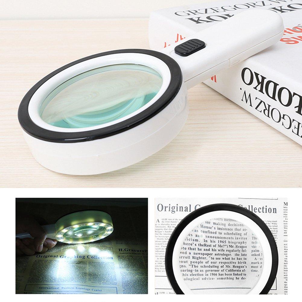 aimdonr 30 x Lupa de mano de alto rendimiento con LED de luz, cristal doble lente de lupa con iluminación Jumbo vasos para leer, soldar, Inspección, ...